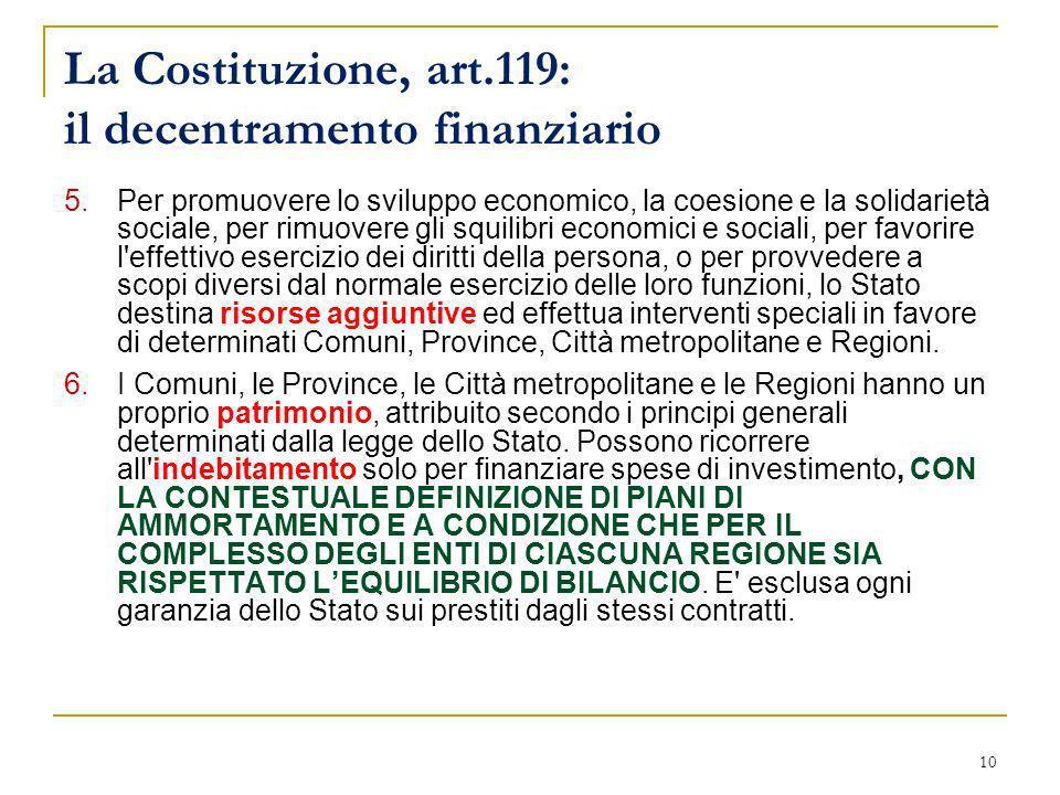 10 La Costituzione, art.119: il decentramento finanziario 5.Per promuovere lo sviluppo economico, la coesione e la solidarietà sociale, per rimuovere