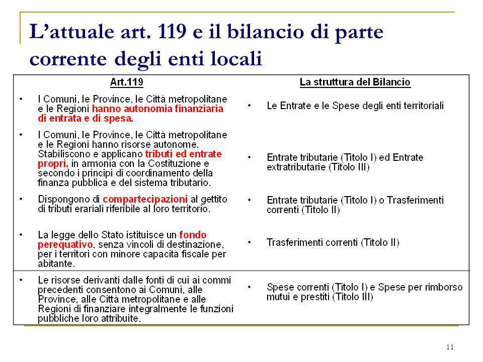 11 Lattuale art. 119 e il bilancio di parte corrente degli enti locali