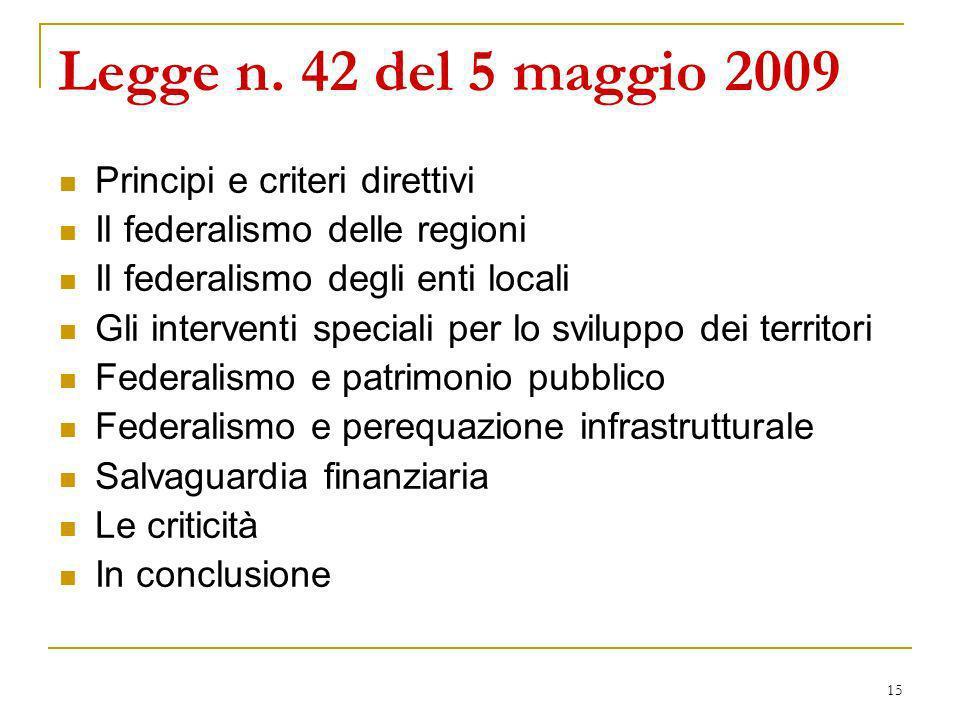 15 Legge n. 42 del 5 maggio 2009 Principi e criteri direttivi Il federalismo delle regioni Il federalismo degli enti locali Gli interventi speciali pe