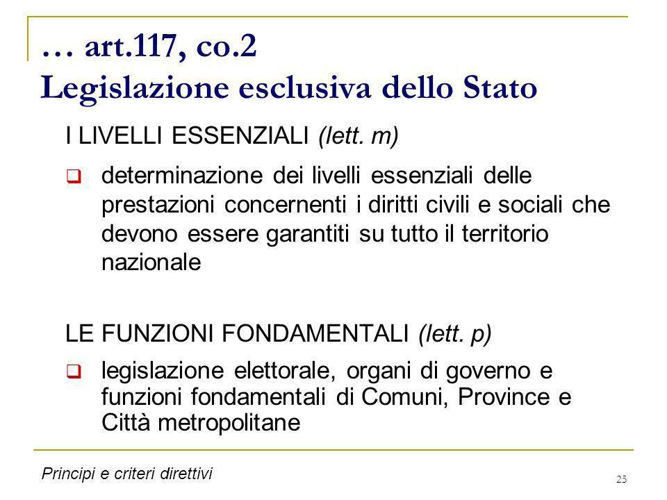25 … art.117, co.2 Legislazione esclusiva dello Stato I LIVELLI ESSENZIALI (lett. m) determinazione dei livelli essenziali delle prestazioni concernen