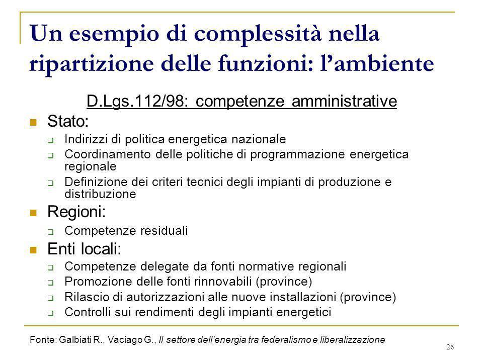 26 Un esempio di complessità nella ripartizione delle funzioni: lambiente D.Lgs.112/98: competenze amministrative Stato: Indirizzi di politica energet