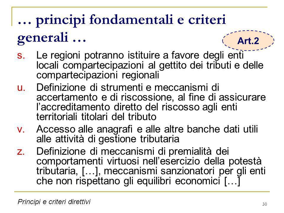 30 … principi fondamentali e criteri generali … s.Le regioni potranno istituire a favore degli enti locali compartecipazioni al gettito dei tributi e