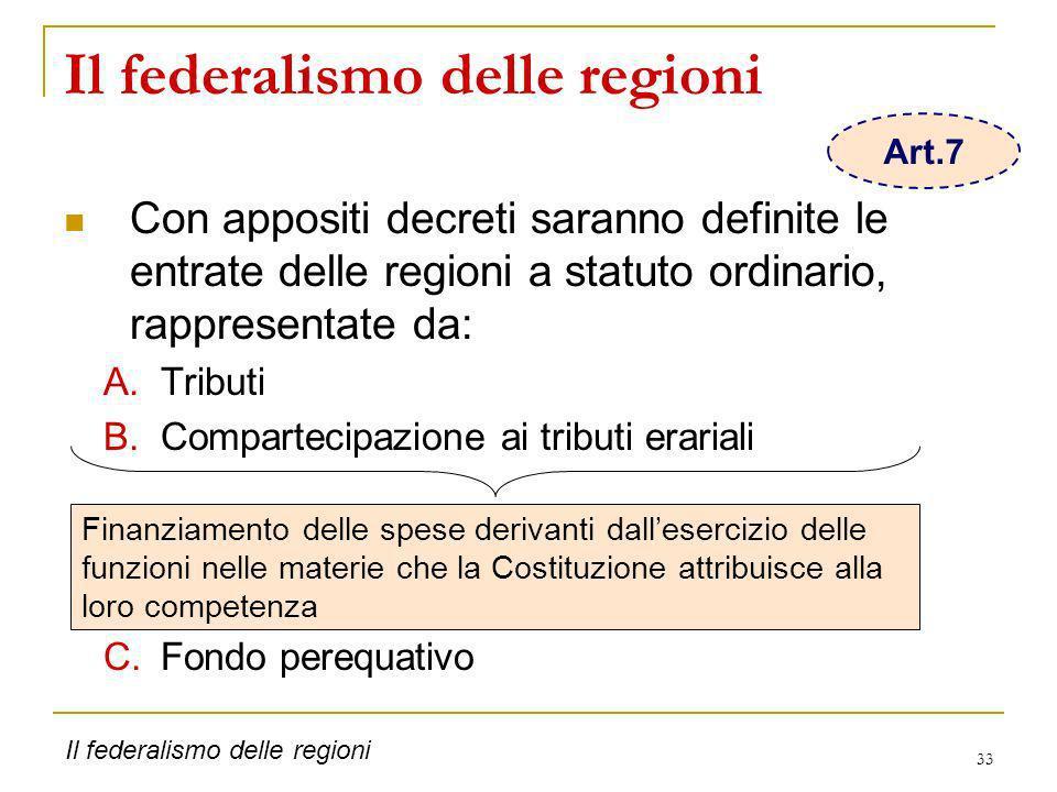 33 Il federalismo delle regioni Con appositi decreti saranno definite le entrate delle regioni a statuto ordinario, rappresentate da: A.Tributi B.Comp