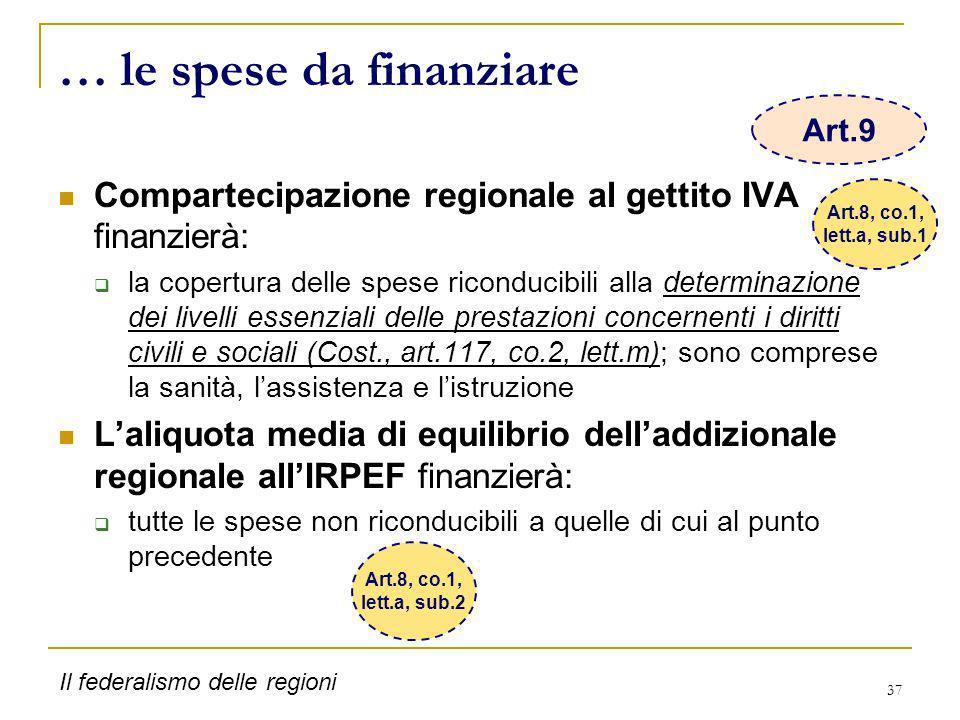 37 … le spese da finanziare Compartecipazione regionale al gettito IVA finanzierà: la copertura delle spese riconducibili alla determinazione dei live
