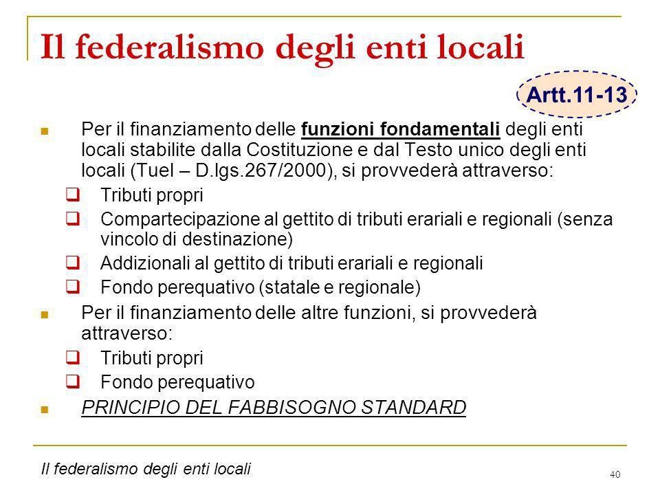 40 Il federalismo degli enti locali Per il finanziamento delle funzioni fondamentali degli enti locali stabilite dalla Costituzione e dal Testo unico
