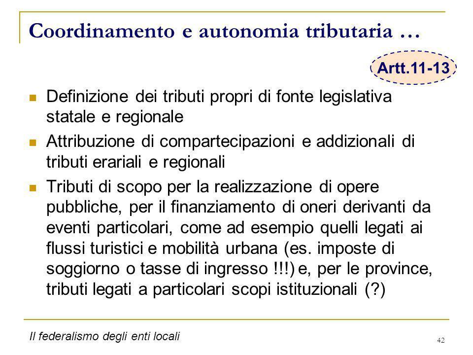 42 Coordinamento e autonomia tributaria … Definizione dei tributi propri di fonte legislativa statale e regionale Attribuzione di compartecipazioni e