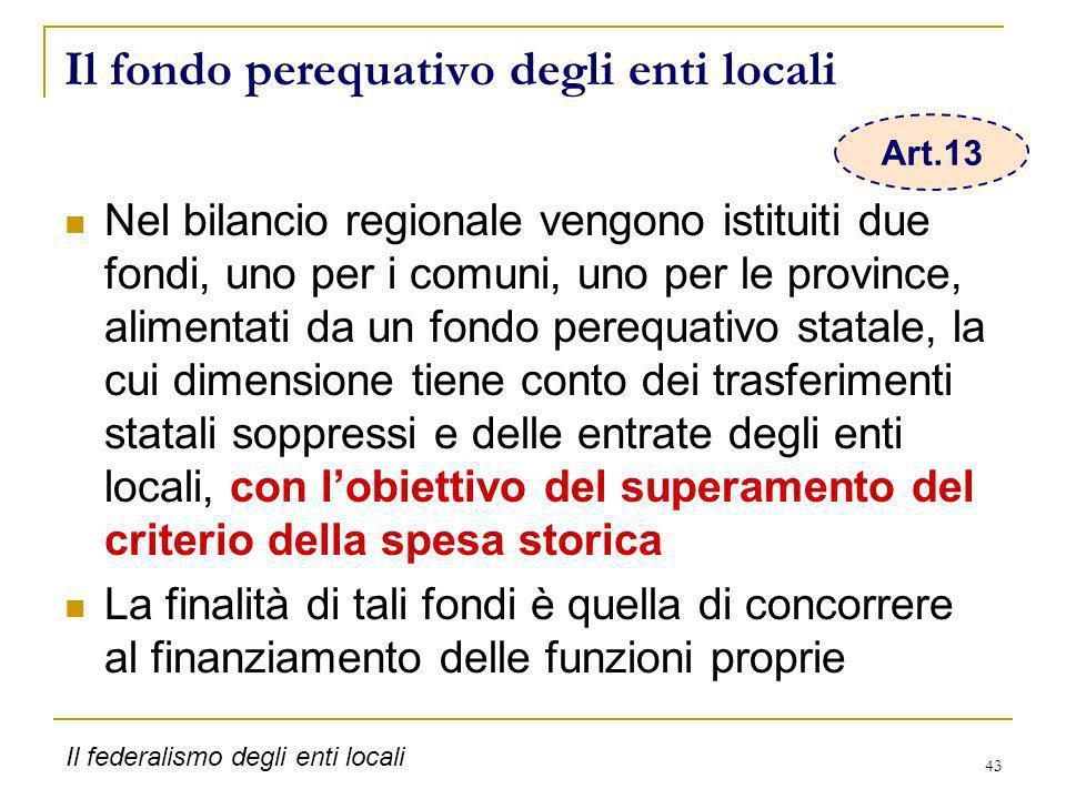 43 Il fondo perequativo degli enti locali Nel bilancio regionale vengono istituiti due fondi, uno per i comuni, uno per le province, alimentati da un