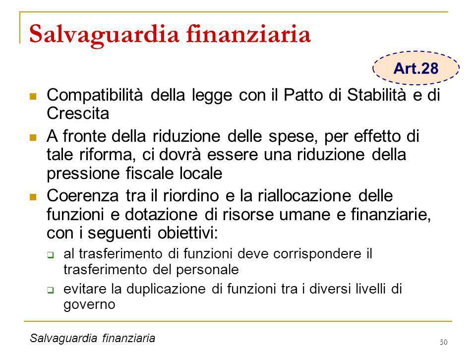 50 Salvaguardia finanziaria Compatibilità della legge con il Patto di Stabilità e di Crescita A fronte della riduzione delle spese, per effetto di tal