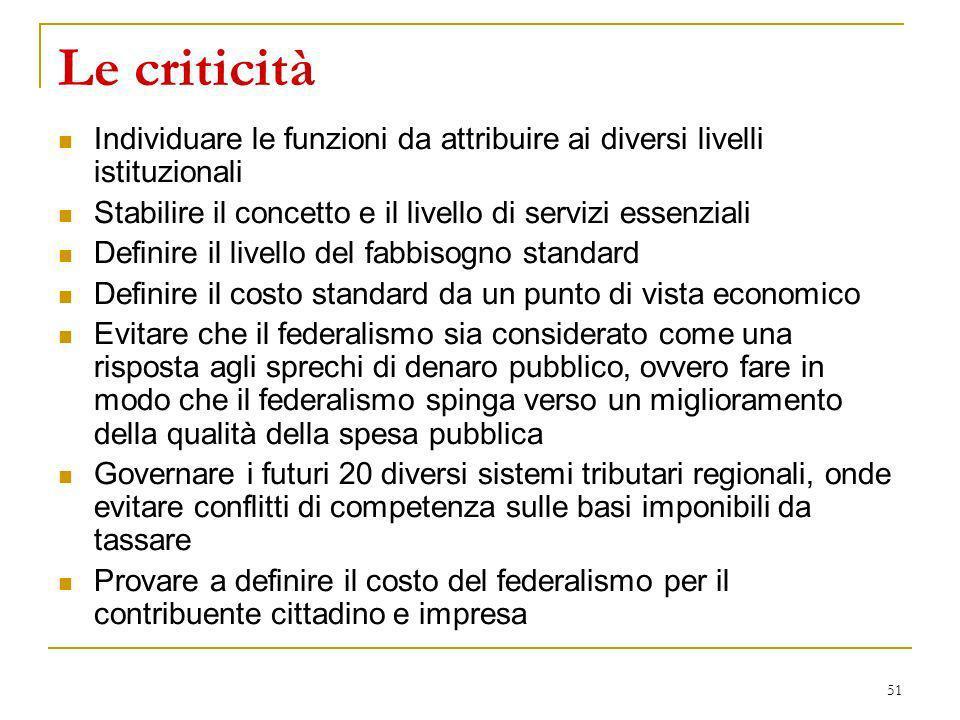 51 Le criticità Individuare le funzioni da attribuire ai diversi livelli istituzionali Stabilire il concetto e il livello di servizi essenziali Defini