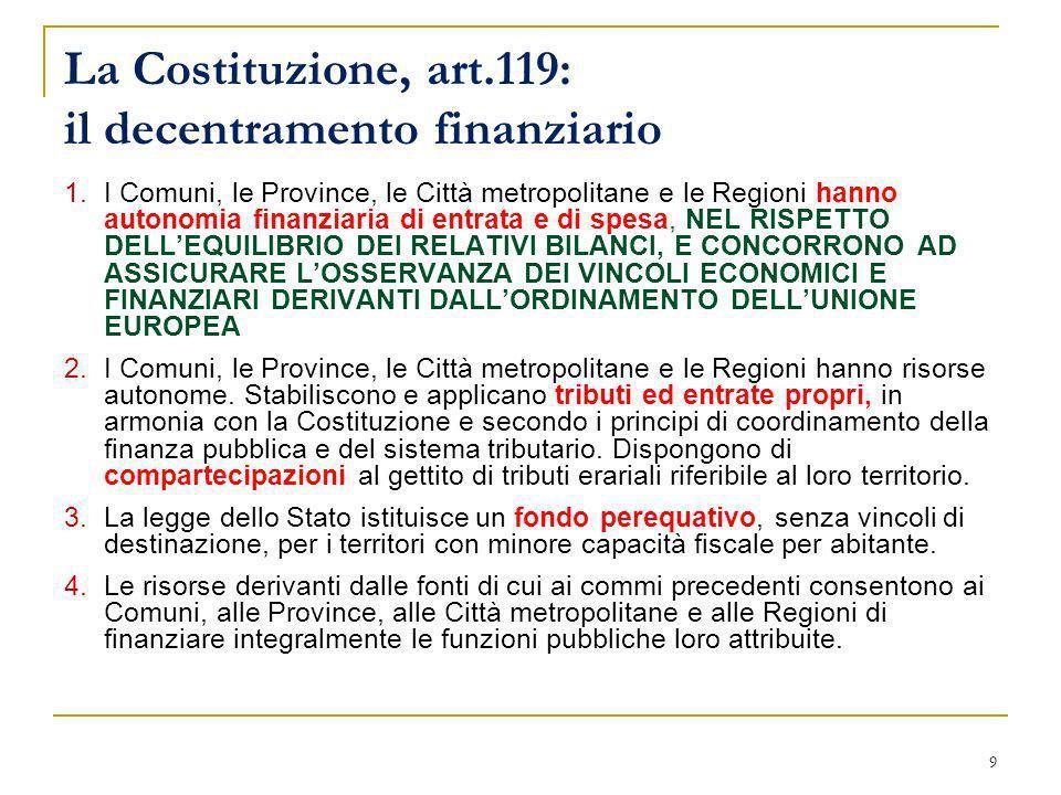 9 La Costituzione, art.119: il decentramento finanziario 1.I Comuni, le Province, le Città metropolitane e le Regioni hanno autonomia finanziaria di e