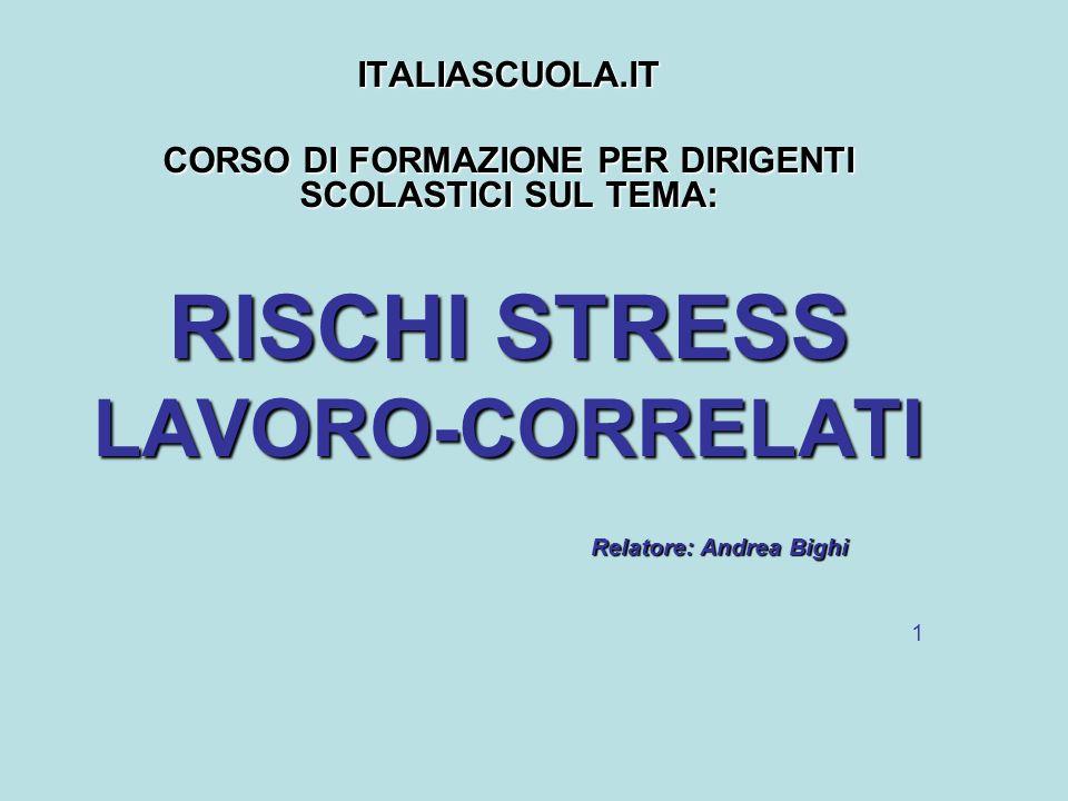 ITALIASCUOLA.IT BIGHI ANDREA 42 LA PREVENZIONE DELLO STRESS LAVORO- CORRELATO -dellequilibrio tra competenze possedute dai lavoratori e delle responsabilità loro assegnate.