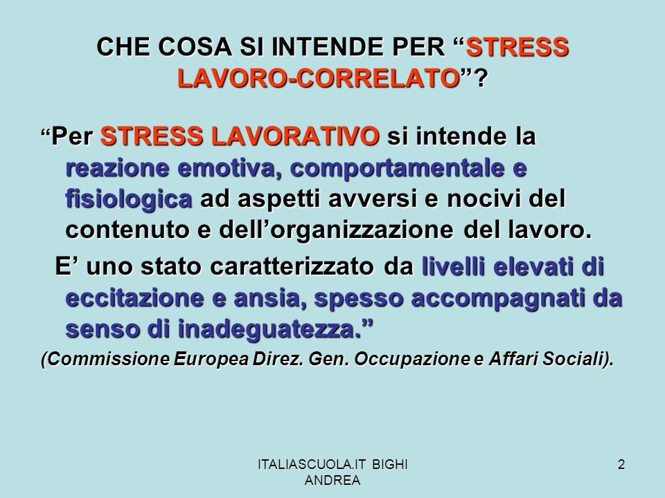 ITALIASCUOLA.IT BIGHI ANDREA 13 Laffermazione che lo stress sia indefinibile e non misurabile deriva dalla mancanza di conoscenza delle ricerche scientifiche.