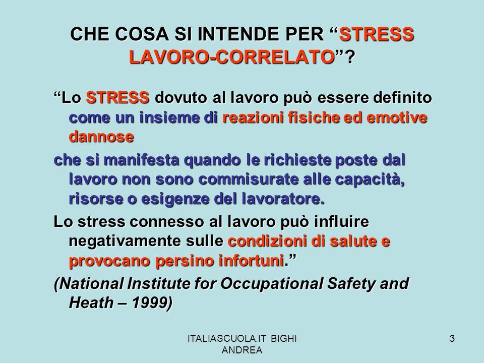 ITALIASCUOLA.IT BIGHI ANDREA 14 La sequenza di questi rapporti costituiscono una base di MISURAZIONE dello stress lavoro-correlato.