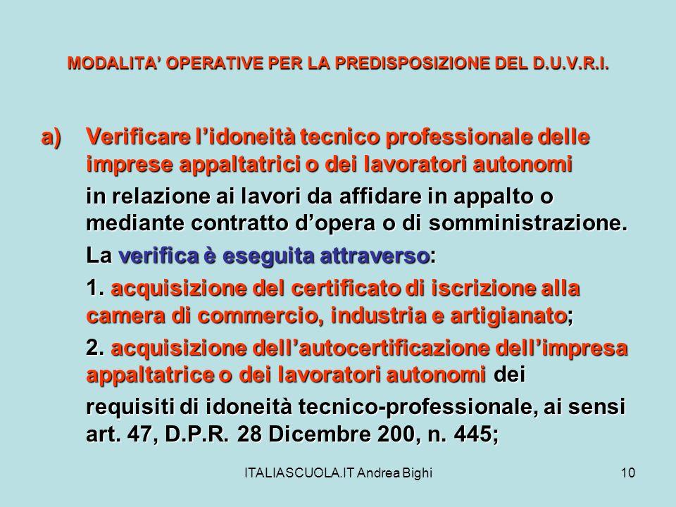 ITALIASCUOLA.IT Andrea Bighi10 MODALITA OPERATIVE PER LA PREDISPOSIZIONE DEL D.U.V.R.I. a)Verificare lidoneità tecnico professionale delle imprese app