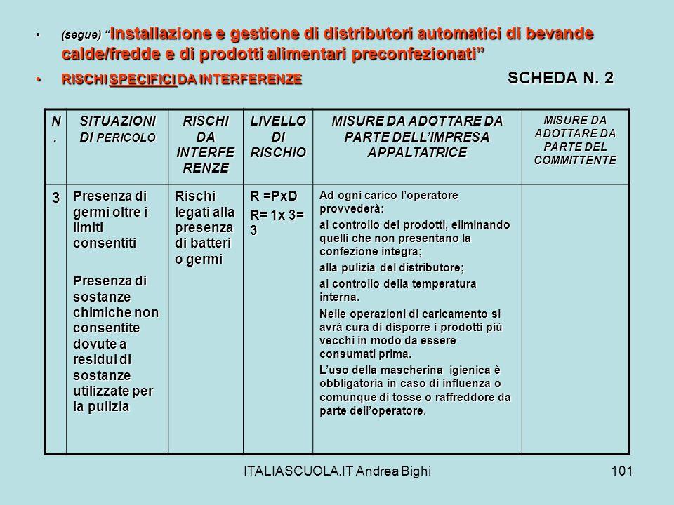 ITALIASCUOLA.IT Andrea Bighi101 (segue) Installazione e gestione di distributori automatici di bevande calde/fredde e di prodotti alimentari preconfez