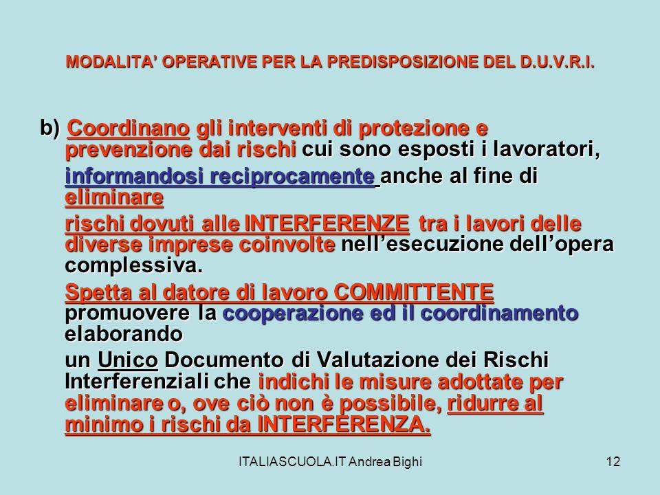 ITALIASCUOLA.IT Andrea Bighi12 MODALITA OPERATIVE PER LA PREDISPOSIZIONE DEL D.U.V.R.I. b) Coordinano gli interventi di protezione e prevenzione dai r