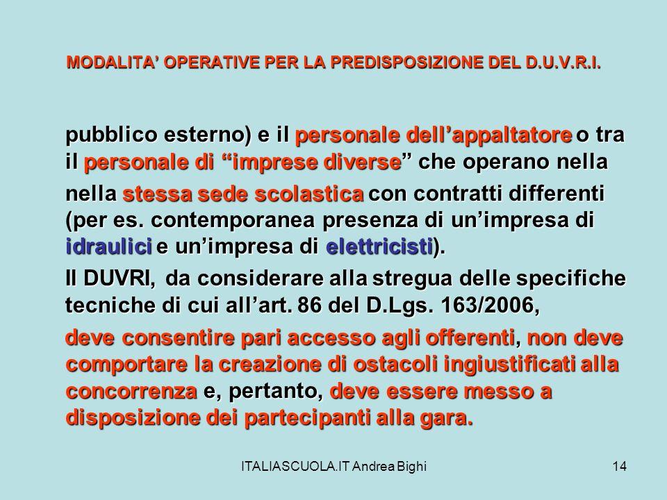 ITALIASCUOLA.IT Andrea Bighi14 MODALITA OPERATIVE PER LA PREDISPOSIZIONE DEL D.U.V.R.I. pubblico esterno) e il personale dellappaltatore o tra il pers