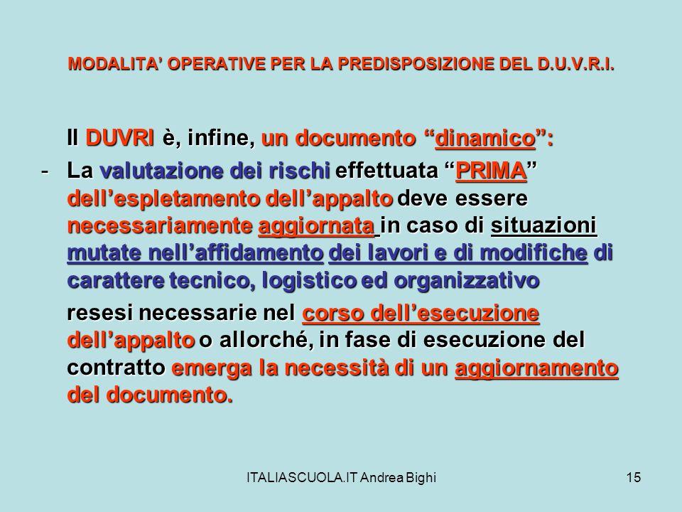 ITALIASCUOLA.IT Andrea Bighi15 MODALITA OPERATIVE PER LA PREDISPOSIZIONE DEL D.U.V.R.I. Il DUVRI è, infine, un documento dinamico: -La valutazione dei