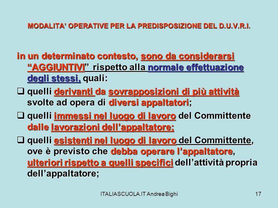 ITALIASCUOLA.IT Andrea Bighi17 MODALITA OPERATIVE PER LA PREDISPOSIZIONE DEL D.U.V.R.I. in un determinato contesto, sono da considerarsi AGGIUNTIVI ri