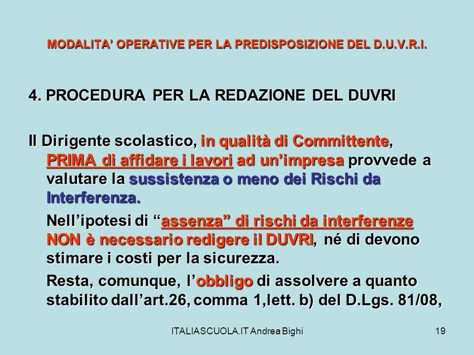 ITALIASCUOLA.IT Andrea Bighi19 MODALITA OPERATIVE PER LA PREDISPOSIZIONE DEL D.U.V.R.I. 4. PROCEDURA PER LA REDAZIONE DEL DUVRI Il Dirigente scolastic