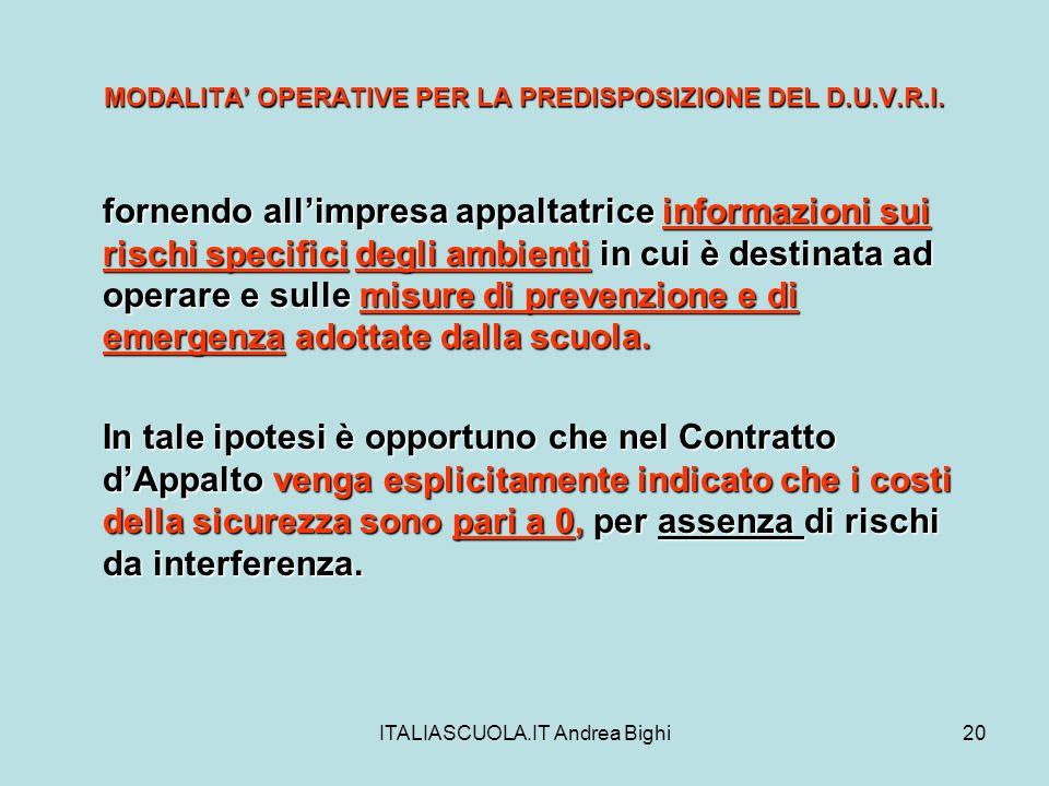 ITALIASCUOLA.IT Andrea Bighi20 MODALITA OPERATIVE PER LA PREDISPOSIZIONE DEL D.U.V.R.I. fornendo allimpresa appaltatrice informazioni sui rischi speci