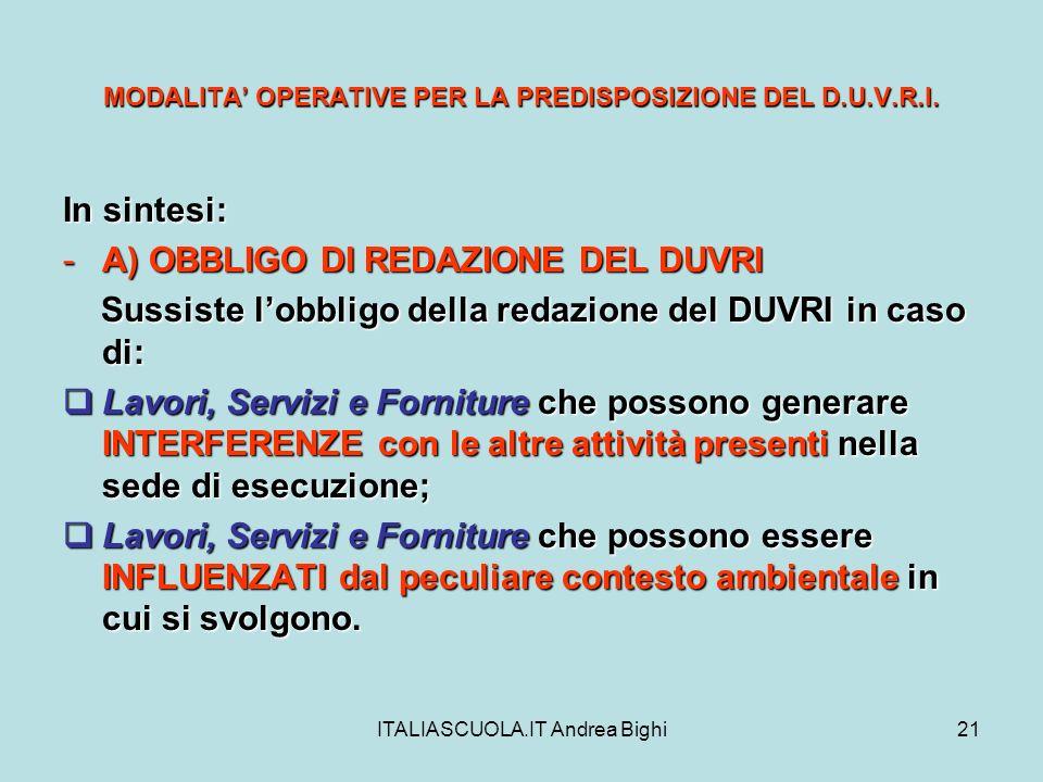 ITALIASCUOLA.IT Andrea Bighi21 MODALITA OPERATIVE PER LA PREDISPOSIZIONE DEL D.U.V.R.I. In sintesi: -A) OBBLIGO DI REDAZIONE DEL DUVRI Sussiste lobbli