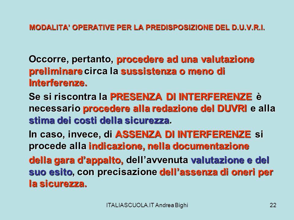 ITALIASCUOLA.IT Andrea Bighi22 MODALITA OPERATIVE PER LA PREDISPOSIZIONE DEL D.U.V.R.I. Occorre, pertanto, procedere ad una valutazione preliminare ci