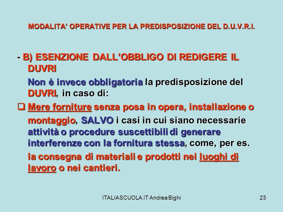 ITALIASCUOLA.IT Andrea Bighi23 MODALITA OPERATIVE PER LA PREDISPOSIZIONE DEL D.U.V.R.I. - B) ESENZIONE DALLOBBLIGO DI REDIGERE IL DUVRI Non è invece o
