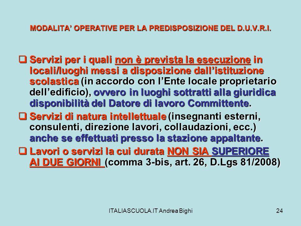 ITALIASCUOLA.IT Andrea Bighi24 MODALITA OPERATIVE PER LA PREDISPOSIZIONE DEL D.U.V.R.I. Servizi per i quali non è prevista la esecuzione in locali/luo