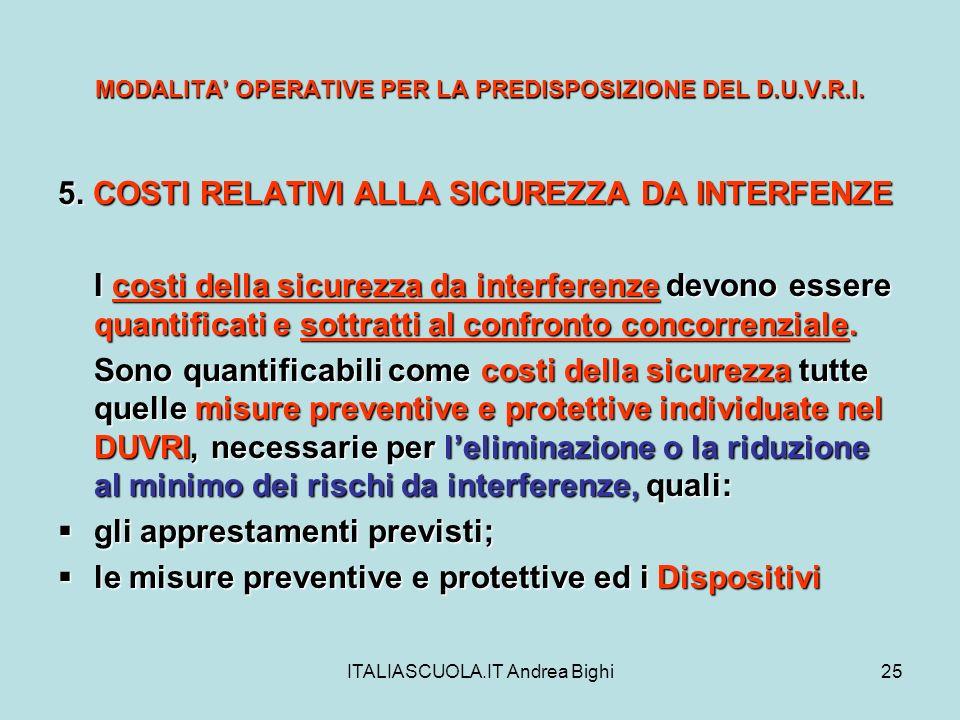 ITALIASCUOLA.IT Andrea Bighi25 MODALITA OPERATIVE PER LA PREDISPOSIZIONE DEL D.U.V.R.I. 5. COSTI RELATIVI ALLA SICUREZZA DA INTERFENZE I costi della s