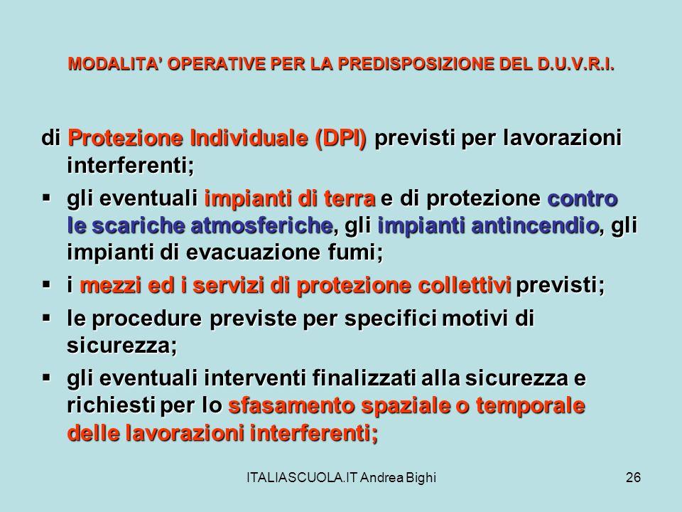 ITALIASCUOLA.IT Andrea Bighi26 MODALITA OPERATIVE PER LA PREDISPOSIZIONE DEL D.U.V.R.I. di Protezione Individuale (DPI) previsti per lavorazioni inter