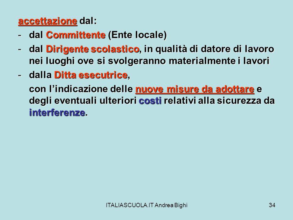ITALIASCUOLA.IT Andrea Bighi34 accettazione dal: -dal Committente (Ente locale) -dal Dirigente scolastico, in qualità di datore di lavoro nei luoghi o