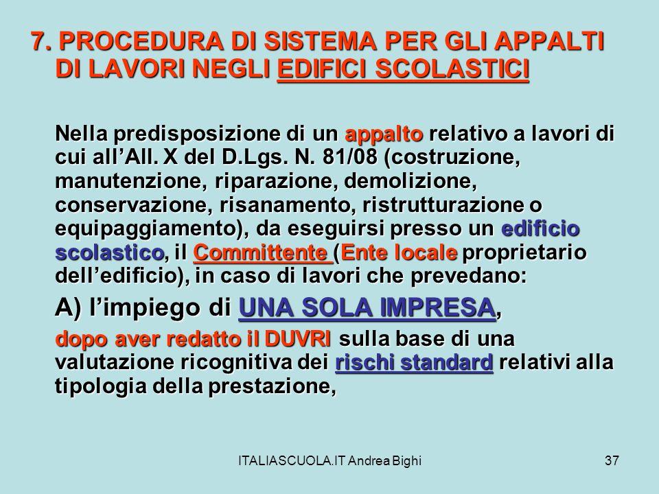 ITALIASCUOLA.IT Andrea Bighi37 7. PROCEDURA DI SISTEMA PER GLI APPALTI DI LAVORI NEGLI EDIFICI SCOLASTICI Nella predisposizione di un appalto relativo