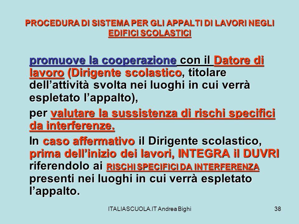 ITALIASCUOLA.IT Andrea Bighi38 PROCEDURA DI SISTEMA PER GLI APPALTI DI LAVORI NEGLI EDIFICI SCOLASTICI promuove la cooperazione con il Datore di lavor