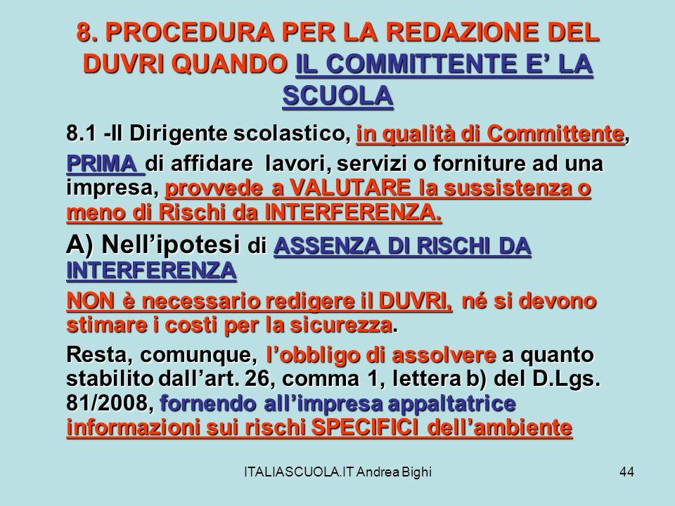 ITALIASCUOLA.IT Andrea Bighi44 8. PROCEDURA PER LA REDAZIONE DEL DUVRI QUANDO IL COMMITTENTE E LA SCUOLA 8.1 -Il Dirigente scolastico, in qualità di C