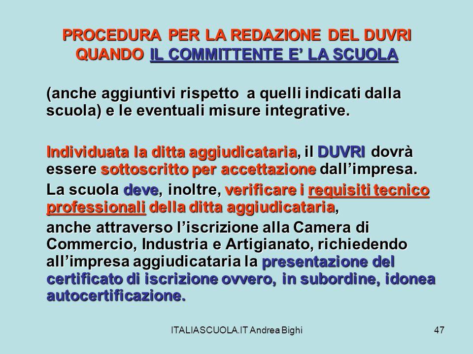 ITALIASCUOLA.IT Andrea Bighi47 PROCEDURA PER LA REDAZIONE DEL DUVRI QUANDO IL COMMITTENTE E LA SCUOLA (anche aggiuntivi rispetto a quelli indicati dal