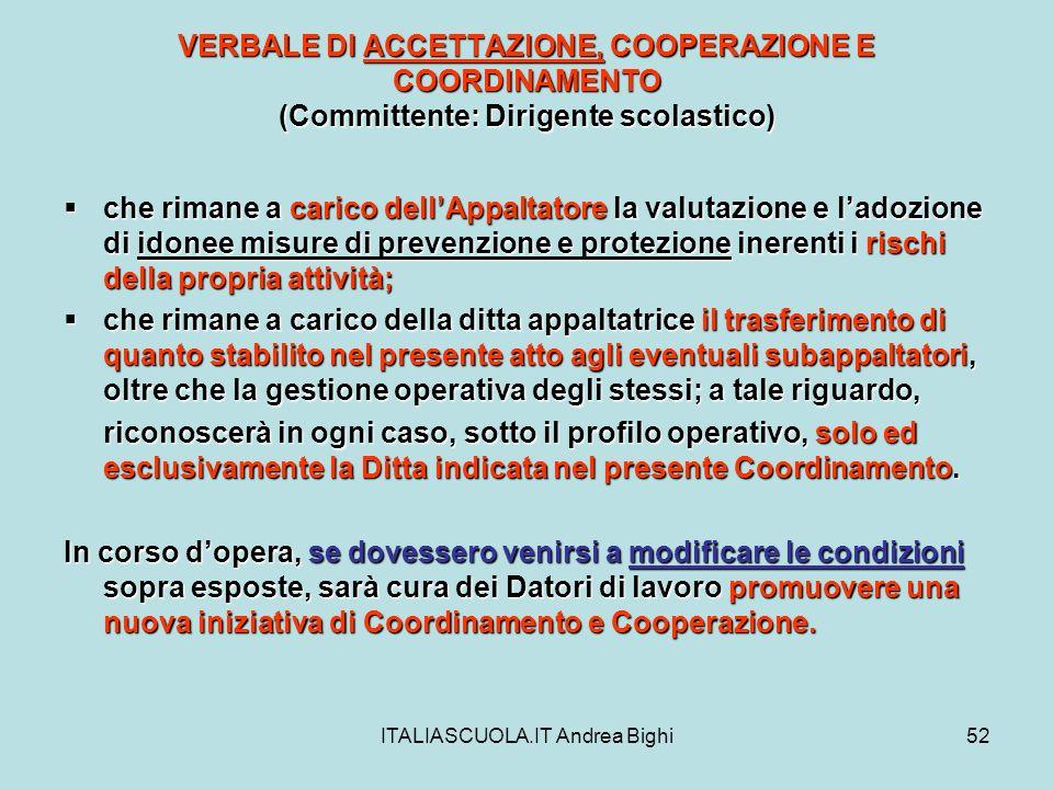 ITALIASCUOLA.IT Andrea Bighi52 VERBALE DI ACCETTAZIONE, COOPERAZIONE E COORDINAMENTO (Committente: Dirigente scolastico) che rimane a carico dellAppal