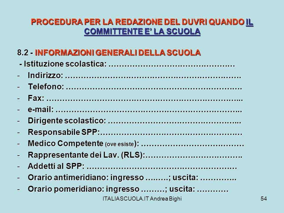ITALIASCUOLA.IT Andrea Bighi54 PROCEDURA PER LA REDAZIONE DEL DUVRI QUANDO IL COMMITTENTE E LA SCUOLA 8.2 - INFORMAZIONI GENERALI DELLA SCUOLA - Istit