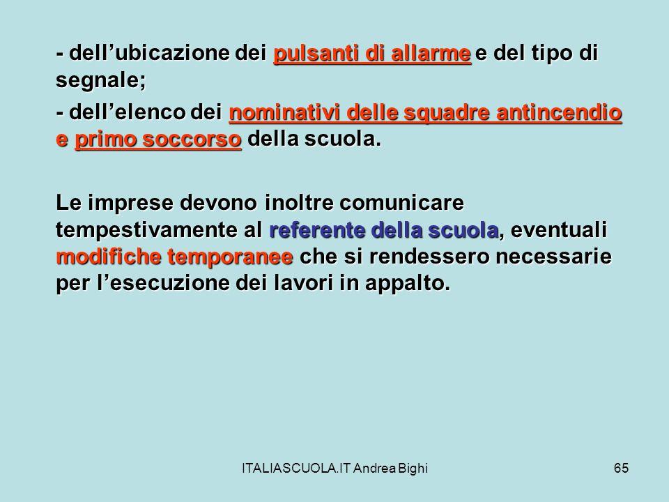 ITALIASCUOLA.IT Andrea Bighi65 - dellubicazione dei pulsanti di allarme e del tipo di segnale; - dellelenco dei nominativi delle squadre antincendio e
