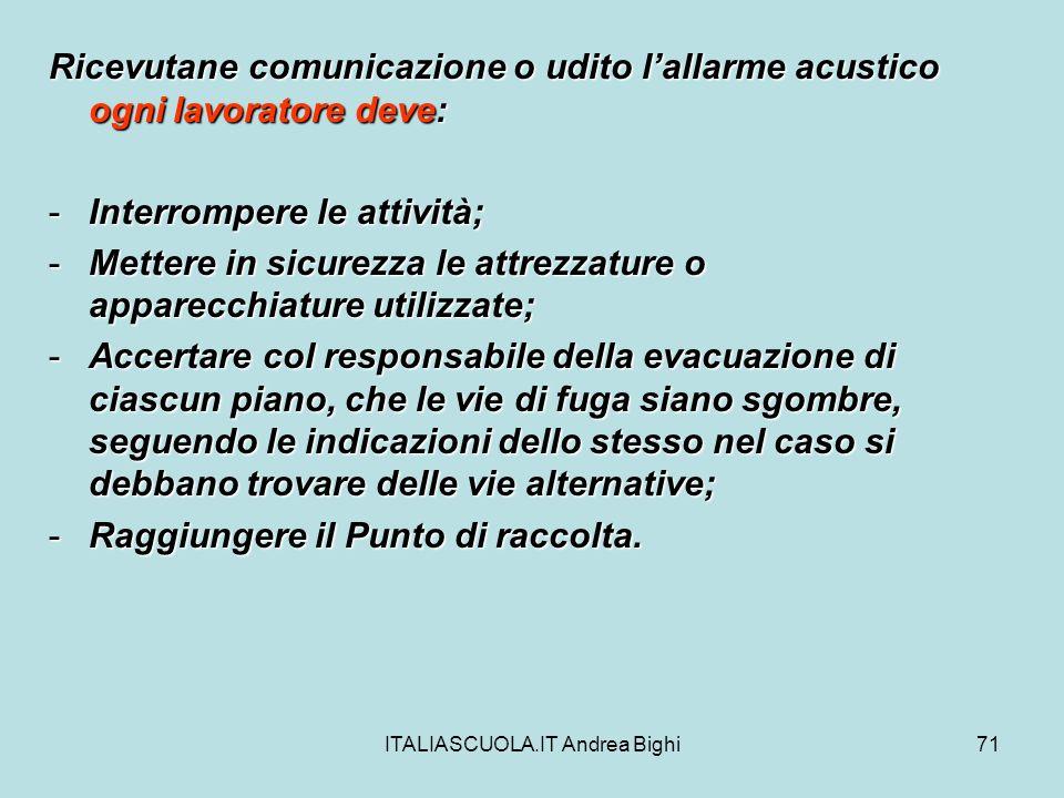 ITALIASCUOLA.IT Andrea Bighi71 Ricevutane comunicazione o udito lallarme acustico ogni lavoratore deve: -Interrompere le attività; -Mettere in sicurez