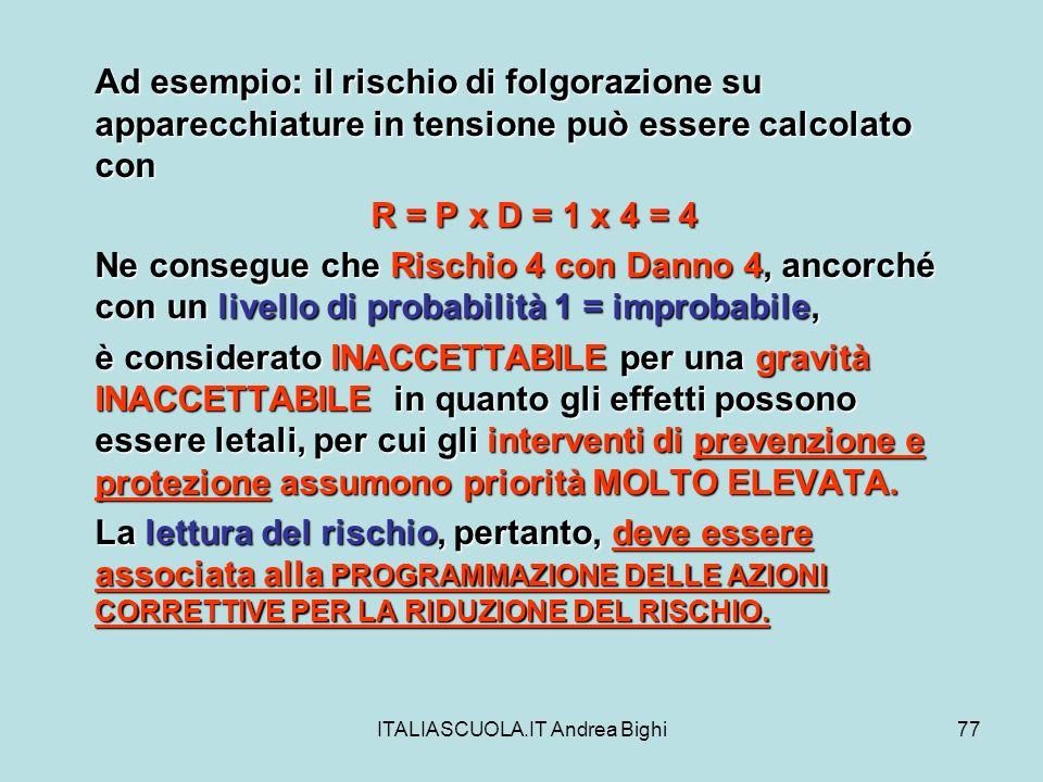ITALIASCUOLA.IT Andrea Bighi77 Ad esempio: il rischio di folgorazione su apparecchiature in tensione può essere calcolato con R = P x D = 1 x 4 = 4 Ne