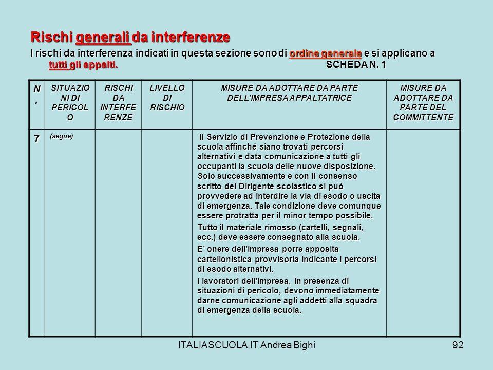ITALIASCUOLA.IT Andrea Bighi92 Rischi generali da interferenze I rischi da interferenza indicati in questa sezione sono di ordine generale e si applic