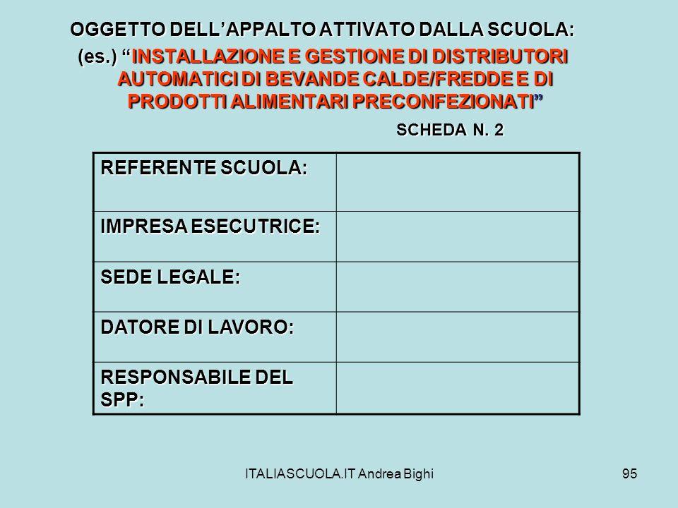 ITALIASCUOLA.IT Andrea Bighi95 OGGETTO DELLAPPALTO ATTIVATO DALLA SCUOLA: (es.) INSTALLAZIONE E GESTIONE DI DISTRIBUTORI AUTOMATICI DI BEVANDE CALDE/F