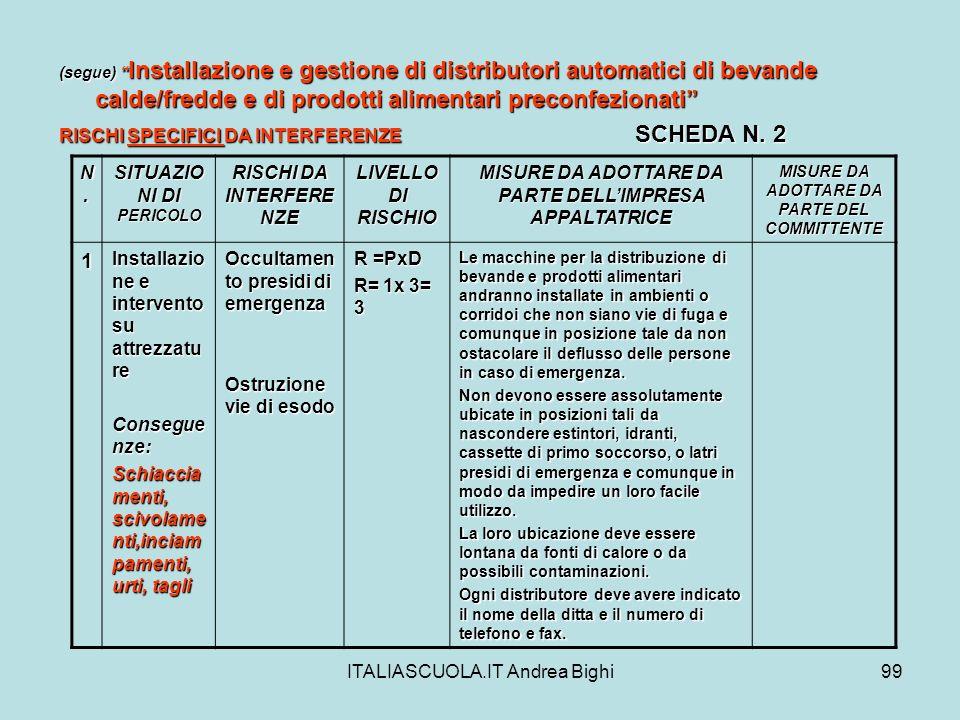 ITALIASCUOLA.IT Andrea Bighi99 (segue) Installazione e gestione di distributori automatici di bevande calde/fredde e di prodotti alimentari preconfezi