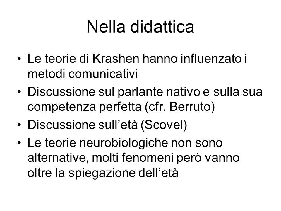 Nella didattica Le teorie di Krashen hanno influenzato i metodi comunicativi Discussione sul parlante nativo e sulla sua competenza perfetta (cfr. Ber