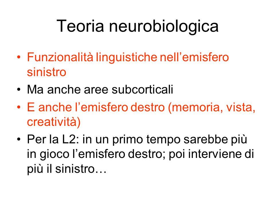 Teoria neurobiologica Funzionalità linguistiche nellemisfero sinistro Ma anche aree subcorticali E anche lemisfero destro (memoria, vista, creatività)