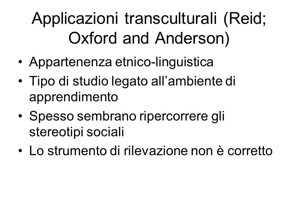 Applicazioni transculturali (Reid; Oxford and Anderson) Appartenenza etnico-linguistica Tipo di studio legato allambiente di apprendimento Spesso semb