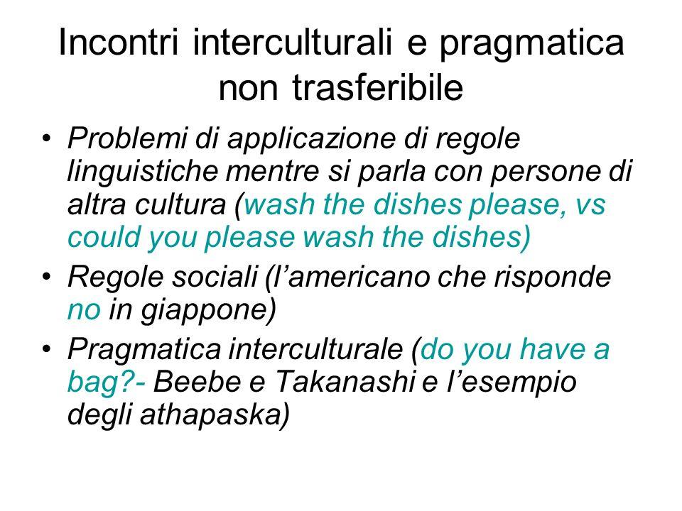 Incontri interculturali e pragmatica non trasferibile Problemi di applicazione di regole linguistiche mentre si parla con persone di altra cultura (wa
