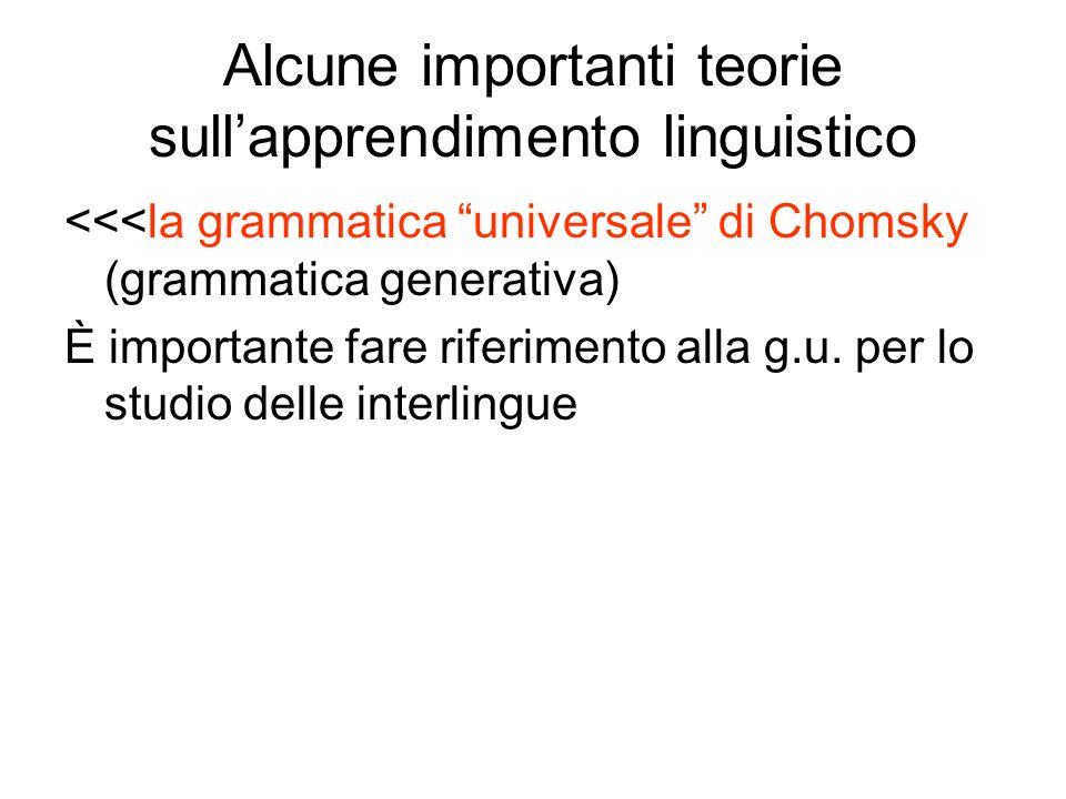 Alcune importanti teorie sullapprendimento linguistico <<<la grammatica universale di Chomsky (grammatica generativa) È importante fare riferimento al
