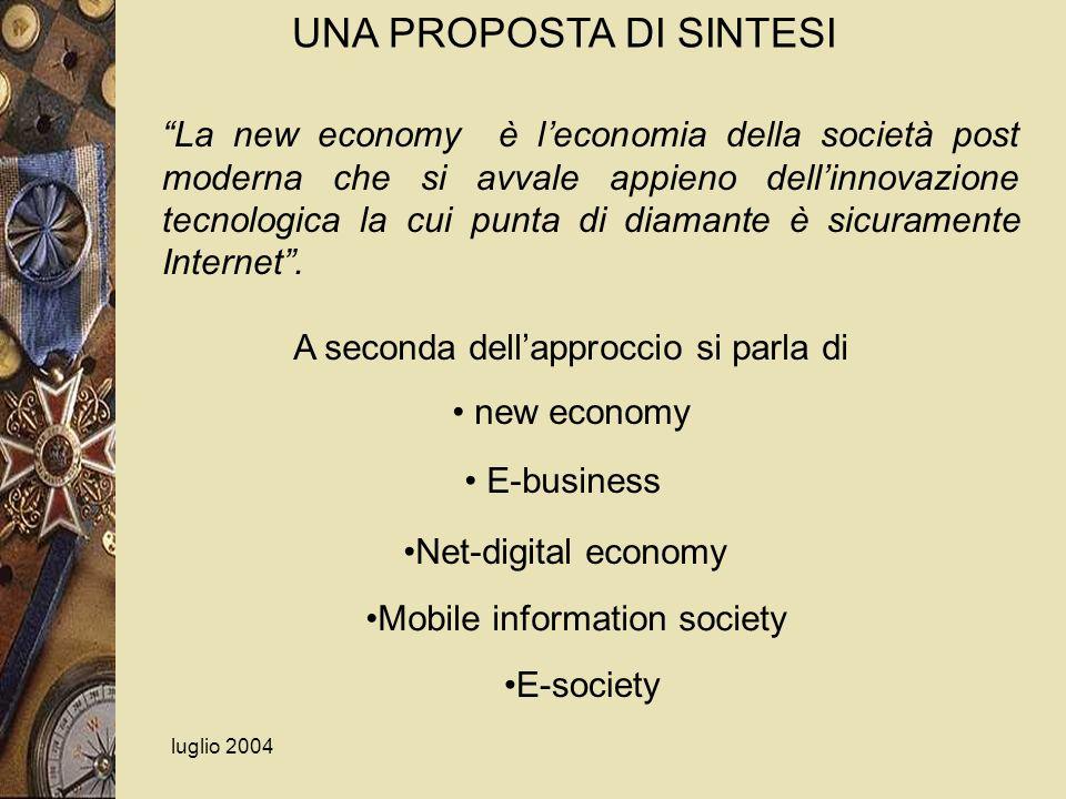 luglio 2004 La new economy è leconomia della società post moderna che si avvale appieno dellinnovazione tecnologica la cui punta di diamante è sicuram